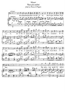 Non più andrai (Now no More): Piano-vocal score by Wolfgang Amadeus Mozart
