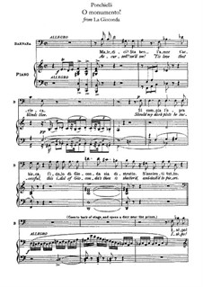 La Gioconda: O monumento! Arrangement for voice and piano by Amilcare Ponchielli