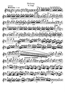 Birdsong for Flute and Piano: Solo part by Wilhelm Popp