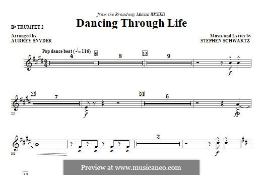 Dancing Through Life (from Wicked): Bb Trumpet 2 part by Stephen Schwartz