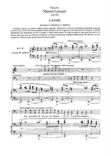 Manon Lescaut : Act III by Giacomo Puccini