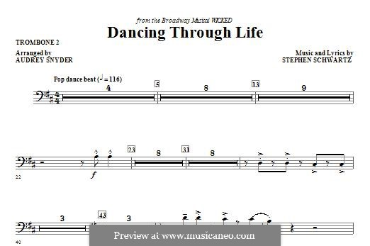 Dancing Through Life (from Wicked): Trombone 2 part by Stephen Schwartz