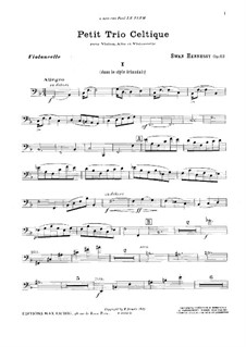 Petit trio celtique for Violin, Viola and Cello in F Major, Op.52: Cello part by Swan Hennessy