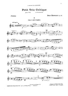 Petit trio celtique for Violin, Viola and Cello in F Major, Op.52: Violin part by Swan Hennessy