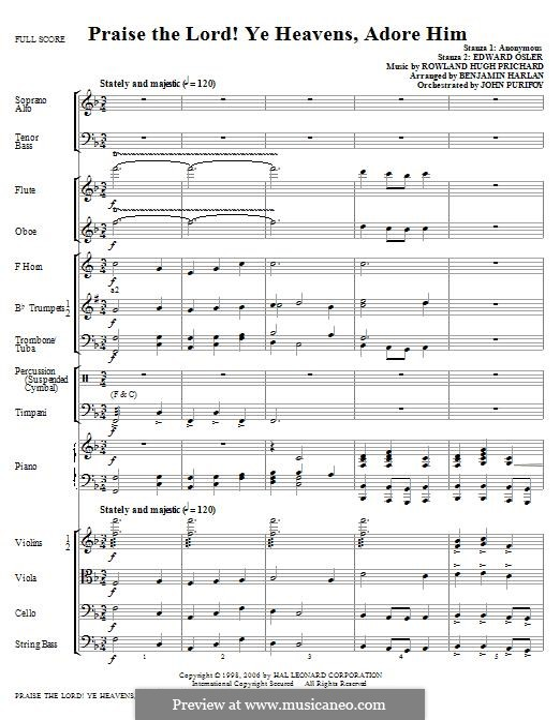 Praise the Lord Ye Heavens: Full score by Rowland Huw Prichard