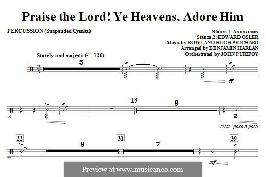 Praise the Lord Ye Heavens: Percussion part by Rowland Huw Prichard