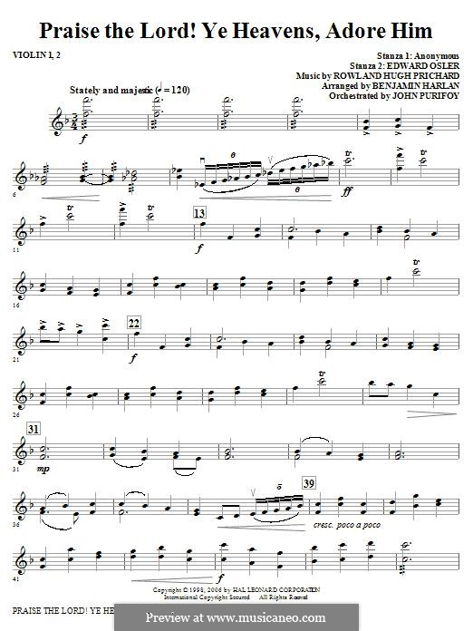 Praise the Lord Ye Heavens: Violin 1, 2 part by Rowland Huw Prichard