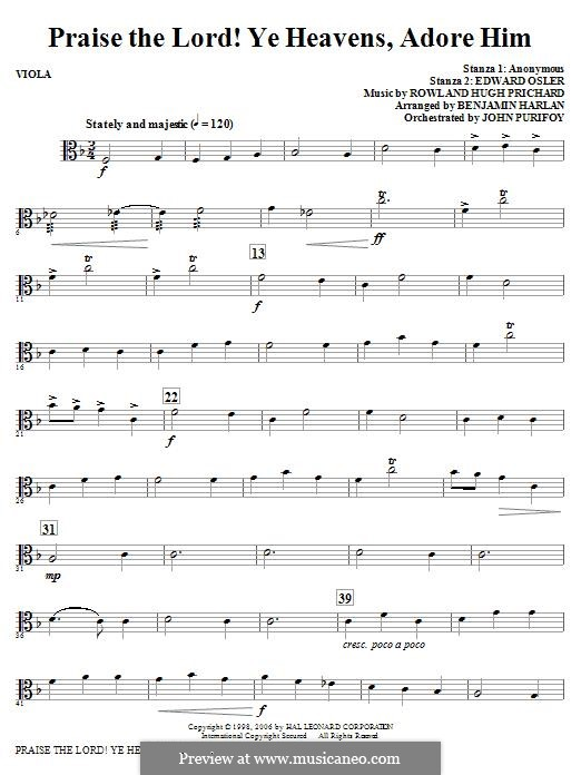 Praise the Lord Ye Heavens: Viola part by Rowland Huw Prichard