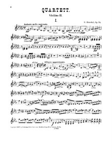 Quartet for Two Violins, Viola and Cello, Op.55: Violin II part by George Henschel