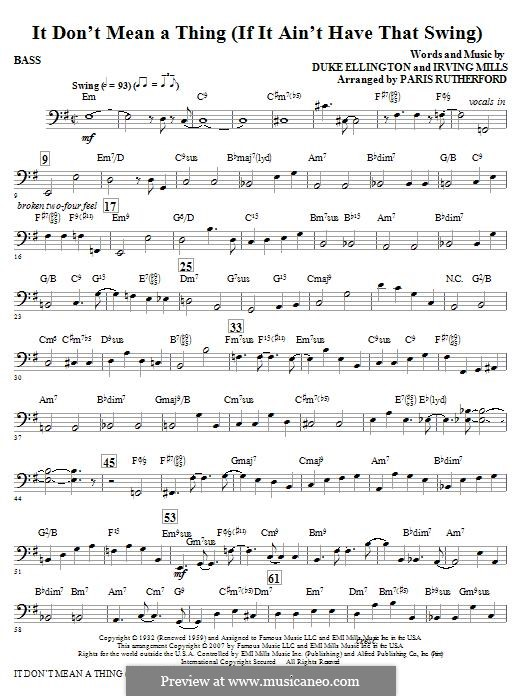 It Don't Mean a Thing (If It Ain't Got That Swing): Bass part by Irving Mills, Duke Ellington