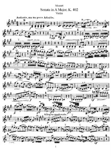 Sonata for Violin and Piano No.29 in A Major, K.402: Solo part by Wolfgang Amadeus Mozart