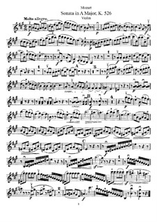 Sonata for Violin and Piano No.35 in A Major, K.526: Solo part by Wolfgang Amadeus Mozart