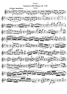 Sonata for Violin and Piano No.26 in B Flat Major, K.378: Solo part by Wolfgang Amadeus Mozart