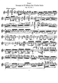 Four Sonatas for Violin, Op.42: Sonata No.1 in D Minor by Max Reger