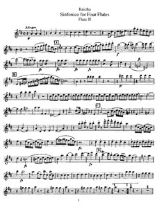 Sinfonico for Four Flutes in D Major, Op.12: Flute II part by Anton Reicha
