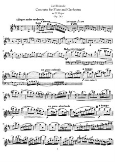 Concerto for Flute and Orchestra in D Major, Op.283: Version for flute and piano – flute part by Carl Reinecke