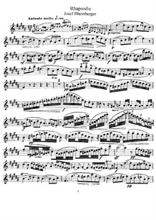 Rhapsody for Flute and Piano: Solo part by Josef Gabriel Rheinberger