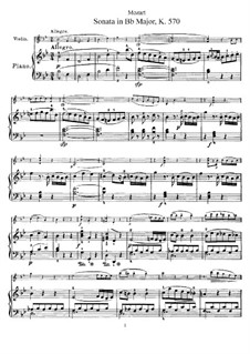 Sonata for Piano No.17 in B Flat Major, K.570: Arrangement for violin and piano by Wolfgang Amadeus Mozart
