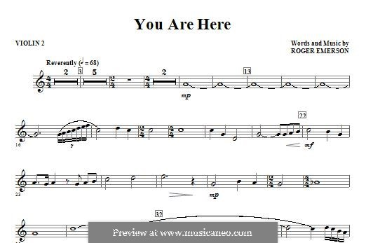 You are Here: Violin 2 part by Roger Emerson