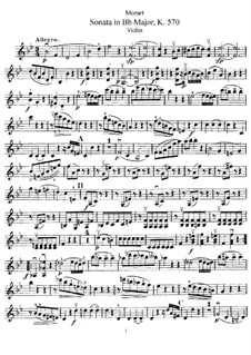 Sonata for Piano No.17 in B Flat Major, K.570: Arrangement for violin and piano – solo part by Wolfgang Amadeus Mozart