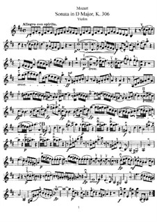 Sonata for Violin and Piano No.23 in D Major, K.306: Solo part by Wolfgang Amadeus Mozart
