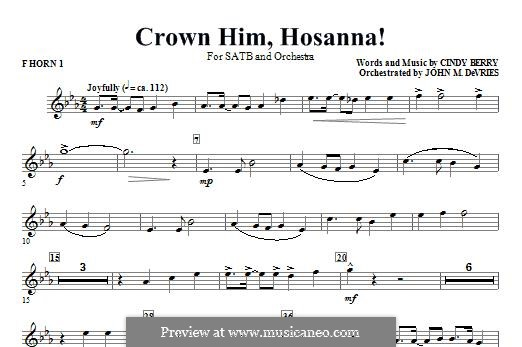 Crown Him Hosanna: F Horn 1 part by Cindy Berry