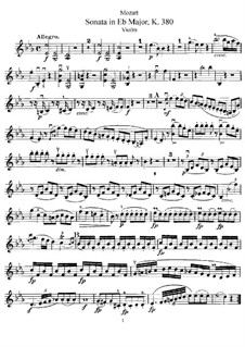 Sonata for Violin and Piano No.28 in E Flat Major, K.380: Solo part by Wolfgang Amadeus Mozart