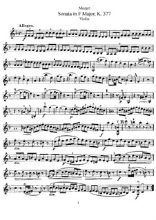 Sonata for Violin and Piano No.25 in F Major, K.377: Solo part by Wolfgang Amadeus Mozart