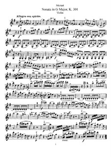 Sonata for Violin and Piano No.18 in G Major, K.301: Solo part by Wolfgang Amadeus Mozart