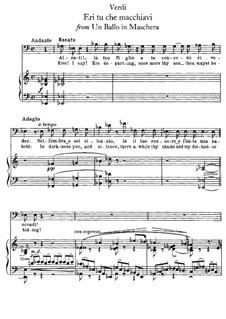 A Masked Ball: Eri tu che macchiavi, for voice and piano by Giuseppe Verdi