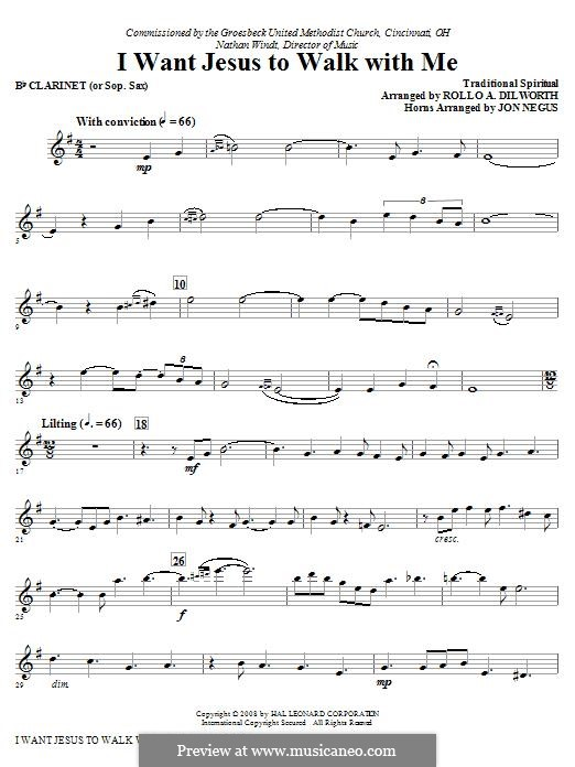 I Want Jesus to Walk with Me: Clarinet (Opt. Soprano Sax) part by folklore