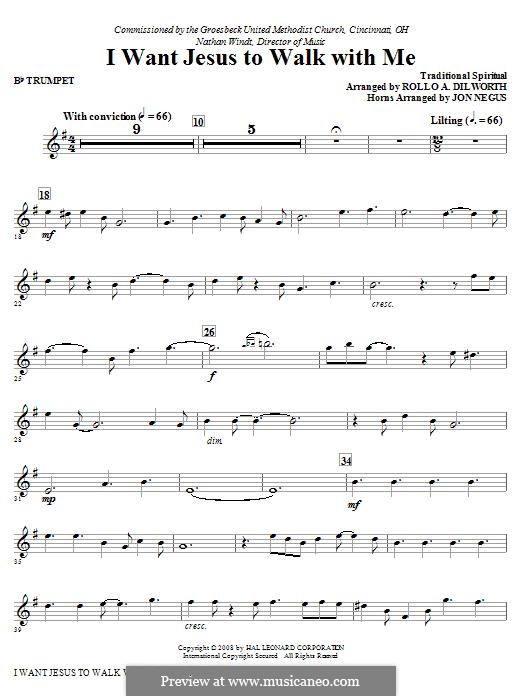 I Want Jesus to Walk with Me: Trumpet part by folklore