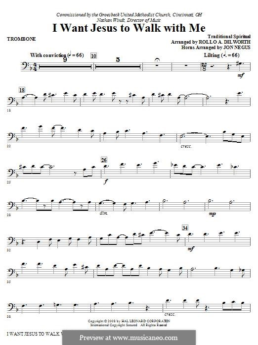 I Want Jesus to Walk with Me: Trombone part by folklore