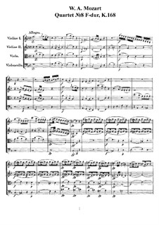String Quartet No.8 in F Major, K.168: Full score, parts by Wolfgang Amadeus Mozart