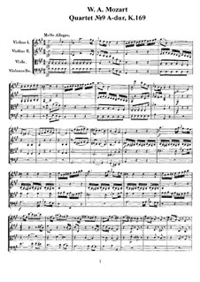 String Quartet No.9 in A Major, K.169: Full score, parts by Wolfgang Amadeus Mozart