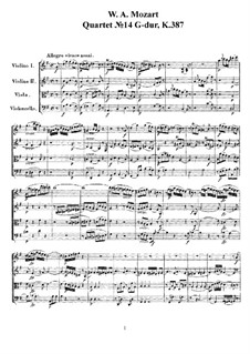 String Quartet No.14 in G Major, K.387: Full score, parts by Wolfgang Amadeus Mozart