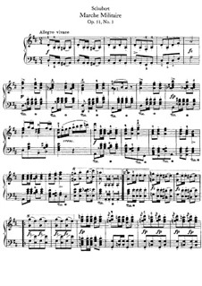 Three Marches Militaires for Piano Four Hands, D.733 Op.51: March No.1, for piano by Franz Schubert