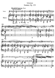 Sonata for Violin and Piano No.2 in D Minor, Op.121: Score by Robert Schumann