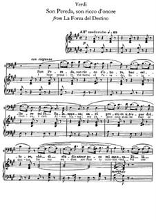 La forza del destino: Son Pereda son ricco d'onore, for voice and piano by Giuseppe Verdi