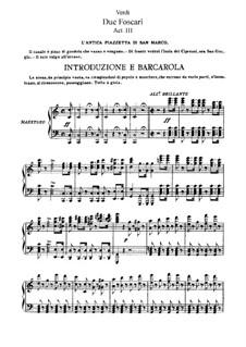 I due Foscari (The Two Foscari): Act III, for soloists, choir and piano by Giuseppe Verdi
