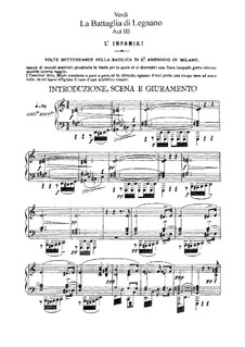 Battle of Legnano: Act III, for soloists, choir and piano by Giuseppe Verdi