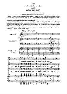 La forza del destino: Act II, for soloists, choir and piano by Giuseppe Verdi
