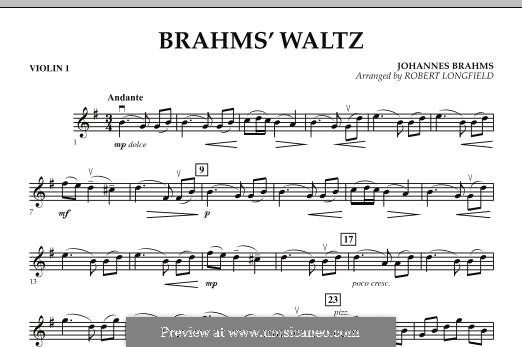 Waltz No.15 (Chamber arrangements): For string orchestra – Violin 1 part by Johannes Brahms