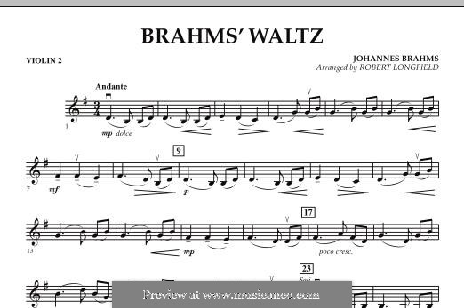 Waltz No.15 (Chamber arrangements): For string orchestra – Violin 2 part by Johannes Brahms
