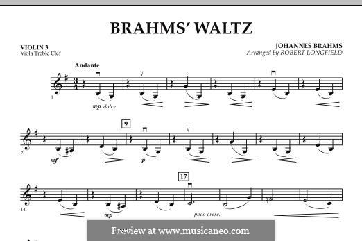 Waltz No.15 (Chamber arrangements): For string orchestra – Violin 3 (Viola Treble Clef) part by Johannes Brahms
