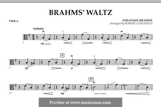 Waltz No.15 (Chamber arrangements): For string orchestra – Viola part by Johannes Brahms