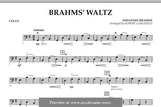 Waltz No.15 (Chamber arrangements): For string orchestra – Cello part by Johannes Brahms