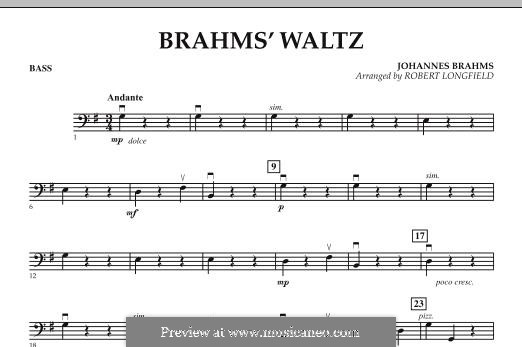 Waltz No.15 (Chamber arrangements): For string orchestra – Bass part by Johannes Brahms