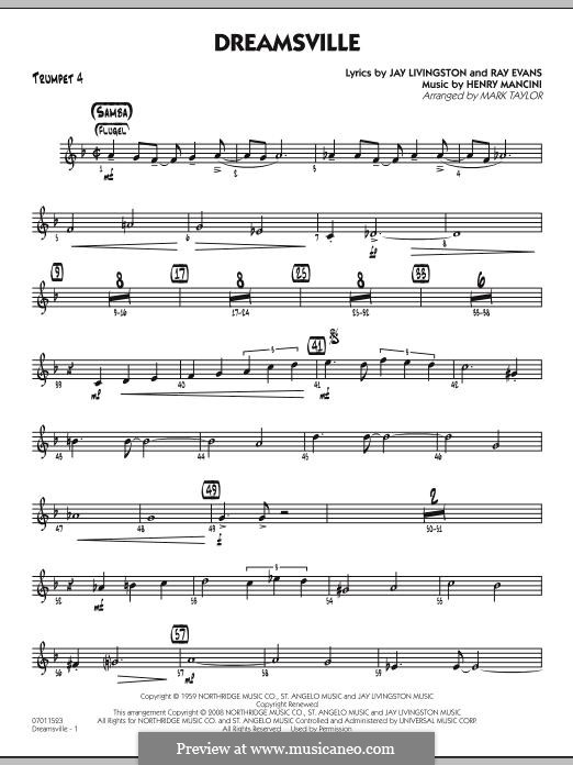 Dreamsville (arr. Mark Taylor): Trumpet 4 part by Henry Mancini