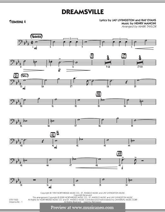 Dreamsville (arr. Mark Taylor): Trombone 4 part by Henry Mancini